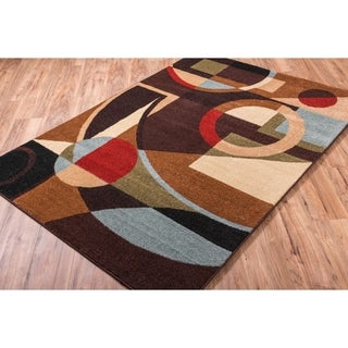 Well Woven Bright Trendy Twist Art Deco Shapes Brown Air Twisted Polypropylene Rug (7'10 x 10'6)