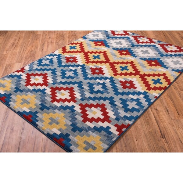 Well Woven Bright Trendy Twist Diamonds Azteca Zigzag Blue Air Twisted Polypropylene Rug (5'3 x 7'3)