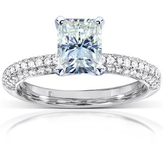 Annello 14k White Gold Radiant-cut Forever Brilliant Moissanite 1/4ct TDW Diamond Engagement Ring (G-H, I1-I2)