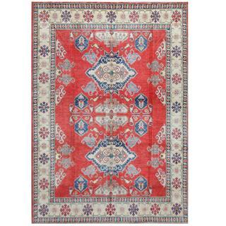 Herat Oriental Afghan Hand-knotted Tribal Kazak Red/ Ivory Wool Rug (7'9 x 10'9)