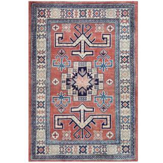 Herat Oriental Afghan Hand-knotted Tribal Kazak Rust/ Ivory Wool Rug (2'9 x 4')