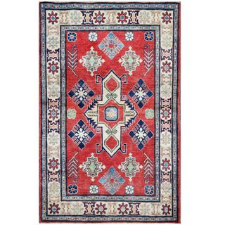 Herat Oriental Afghan Hand-knotted Tribal Kazak Red/ Ivory Wool Rug (3'9 x 5'11)
