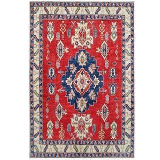 Herat Oriental Afghan Hand-knotted Tribal Kazak Red/ Ivory Wool Rug (7'7 x 11'2)