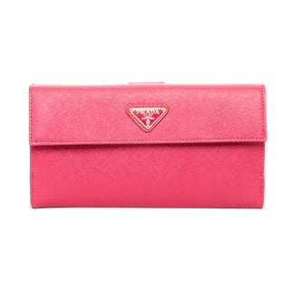 Prada Peony Saffiano Leather Triangle Wallet
