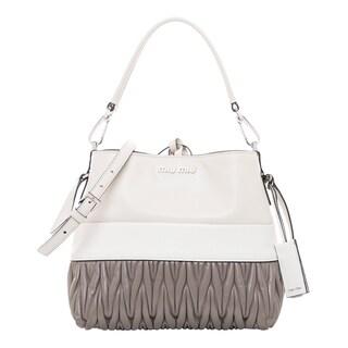 Miu Miu Vitello Matelas Grey Leather Shoulder Bag