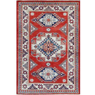 Herat Oriental Afghan Hand-knotted Tribal Super Kazak Red/ Ivory Wool Rug (3'2 x 4'11)