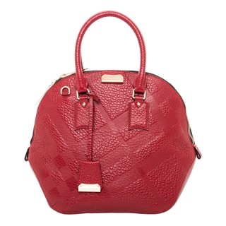 Burberry Medium Orchard Embossed Check Red Leather Satchel