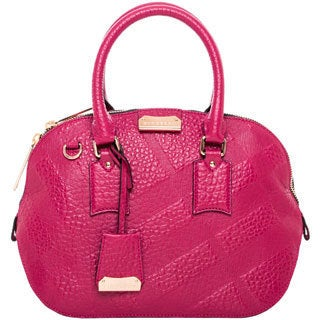 Burberry Small Orchard Embossed Check Fuchsia Leather Satchel