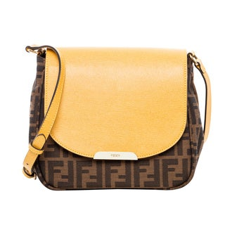 Fendi Small Yellow and Tobacco Zucca Crossbody