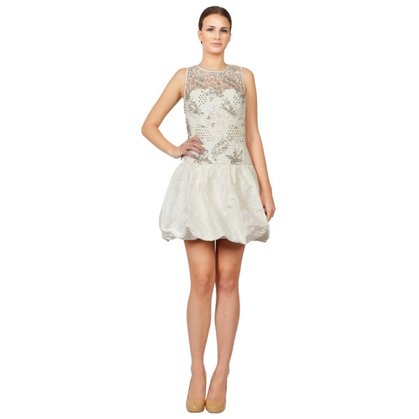 Rebecca Taylor Women's Porcelain White Guipure Combo Studded Balloon Dress