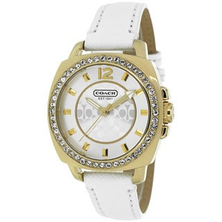 Coach Women's 14501790 Boyfriend Round White Leather Strap Watch