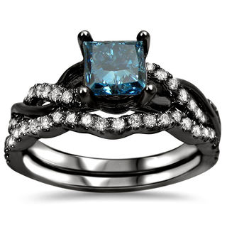 14k Black Rhodium-plated 1 1/5ct. TDW Blue Certified Diamond Engagement Ring Set (SI1-SI2)