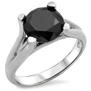 14k White Gold 1 1/4ct. TDW Black Round Solitaire Diamond Engagement Ring