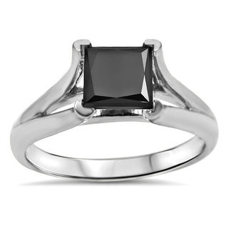 Noori 14k White Gold 1 1/4ct. TDW Black Princess-cut Solitaire Certified Diamond Engagement Ring (VVS1-VVS