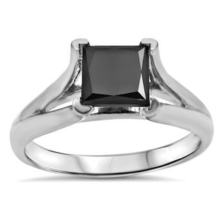 14k White Gold 1 1/4ct. TDW Black Princess-cut Solitaire Certified Diamond Engagement Ring (VVS1-VVS2)