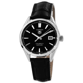 Tag Heuer Men's WAR211A.FC6180 'Carrera' Black Dial Black Leather Strap Automatic Watch