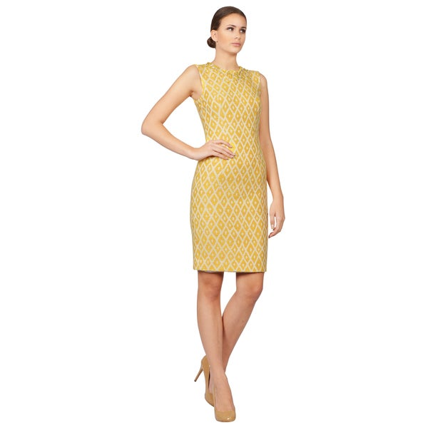 Dsquared2 Women's Yellow and White Geometric Sleeveless Dress