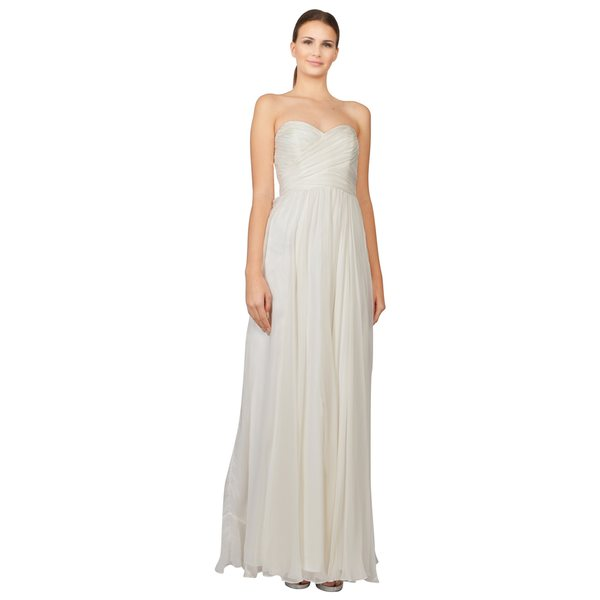 Badgley Mischka Women's Women's Angel White Chiffon Wrapped Empire Waist Gown