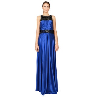 Marc Bouwer Glamit Women's Sapphire Blue Sleeveless Beaded Gown