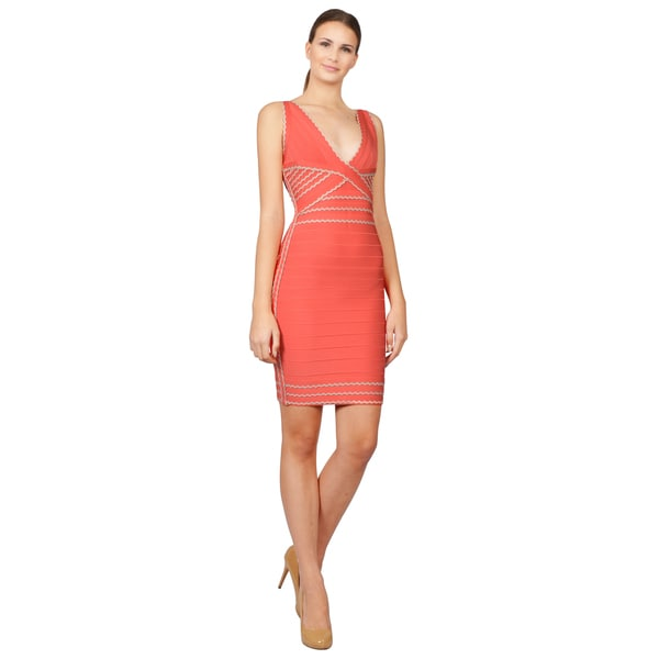 Herve Leger Women's Coral Scalloped Bandage Dress