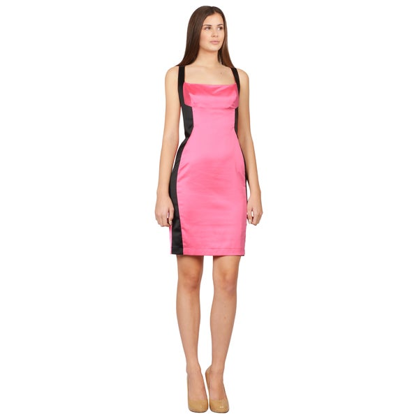 Just Cavalli Women's Pink and Black Sleeveless Satin Illusion Dress
