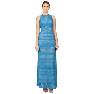 Yigal Azrouel Women's Aqua Blue Lace Sleeveless Maxi Dress