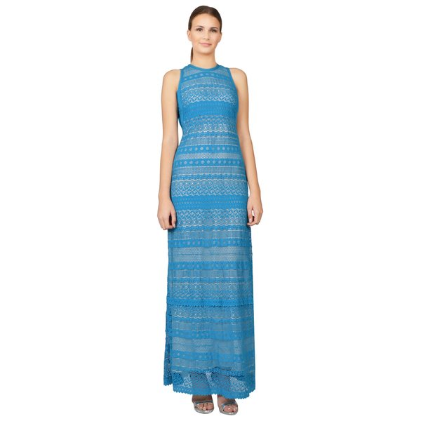 Yigal Azrouel Women's Aqua Blue Lace Sleeveless Maxi Dress