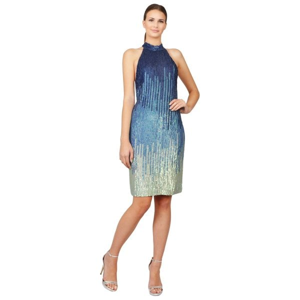 Versace Collection Women's Blue Ombre Sequin Halter Dress