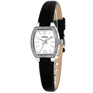 Fossil Women's BQ1214 'Classic' Crystal Black Leather Watch