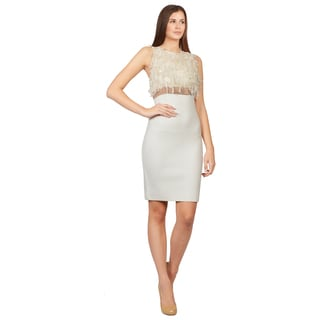 Giambattista Valli Women's Ivory Embroidered Organza Stretch Knit Dress