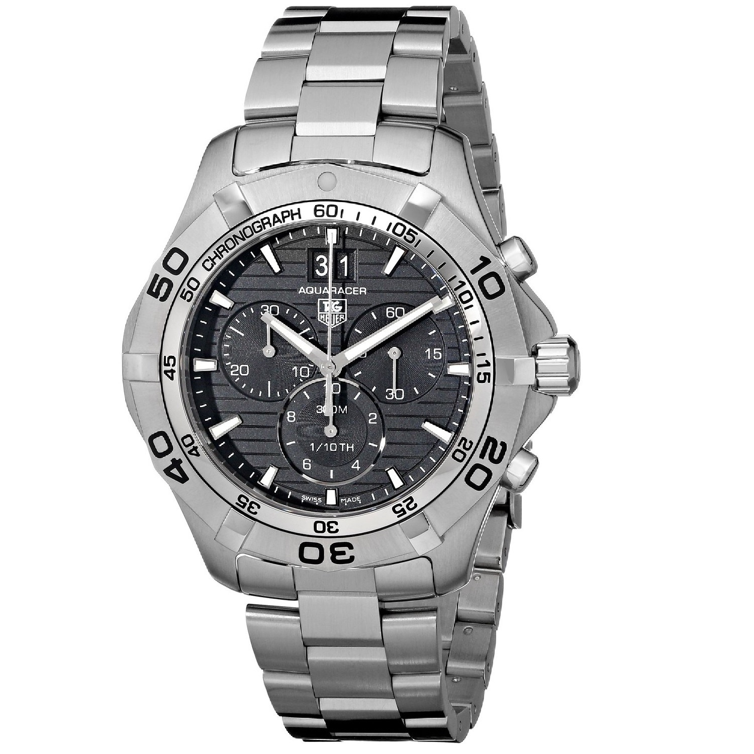 Tag heuer men 39 s caf101e ba0821 39 aquaracer grande date 39 stainless steel overstock shopping for Tag heuer discount
