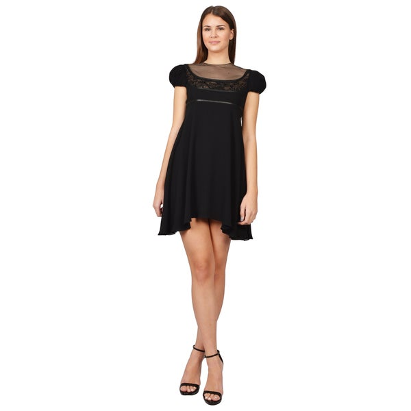 Saint Laurent Women's Black Silk Crepe Short Sleeve Babydoll Dress