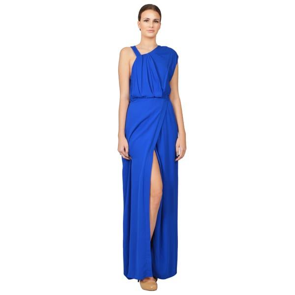 Yigal Azrouel Women's Cobalt Blue Asymmetric Faux Wrap Gown