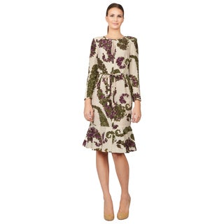 Giambattista Valli Women's Floral Print Long Sleeve Ruffled Dress