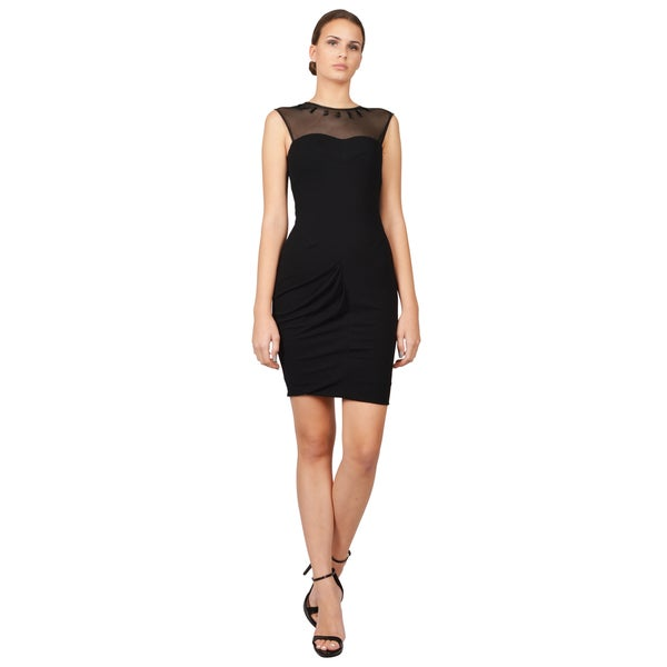 Yigal Azrouel Women's Black Ruched Illusion Sleeveless Dress