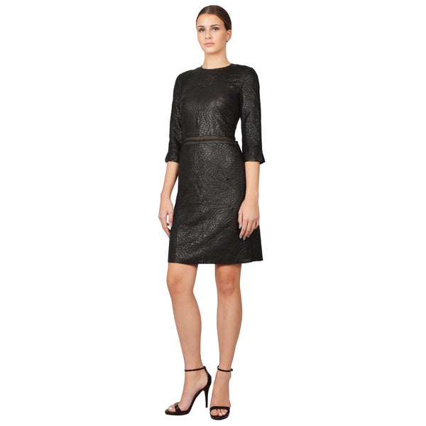 Ralph Rucci Women's Black Cathedral Leather and Silk Braided Tassle Dress