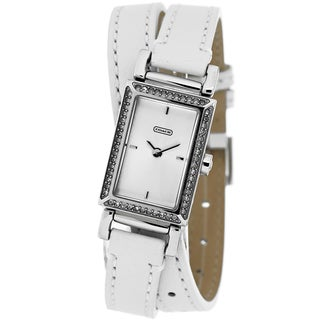 Coach Women's 14501856 Madison Slim Rectangle White Leather Strap Watch