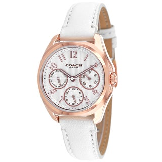 Coach Women's 14502009 Classic Round White Leather Strap Watch