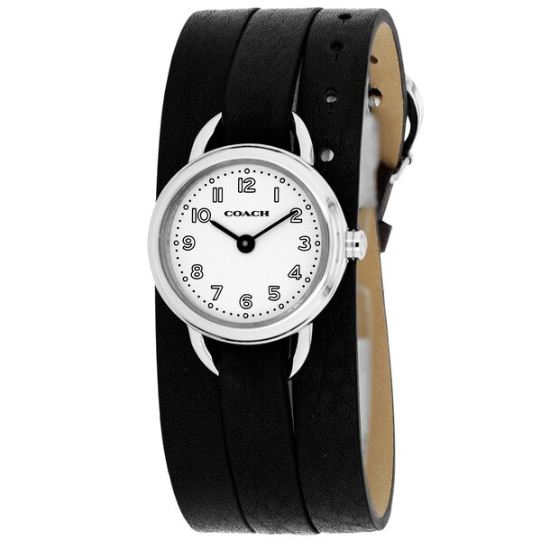 Coach Women's 14501982 Classic Round Black Leather Strap Watch