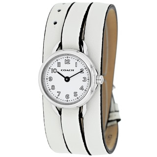 Coach Women's 14501980 Classic Round White Leather Strap Watch
