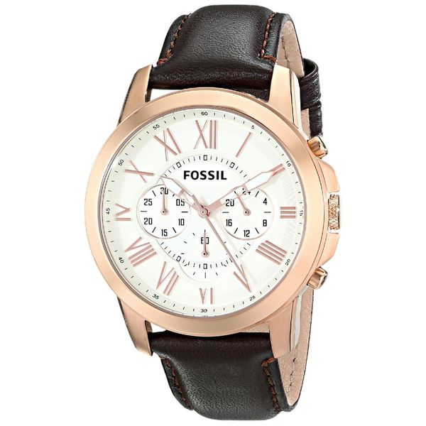 Fossil Men's fs4991 Grant Goldtone Brown Leather Chronograph Watch