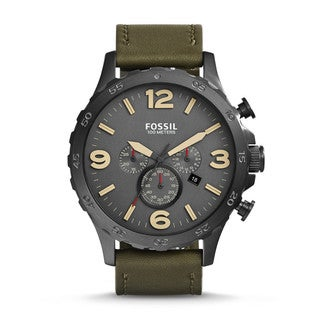 Fossil Men's JR1476 Nate Stainless Steel Olive Leather Chronograph Watch