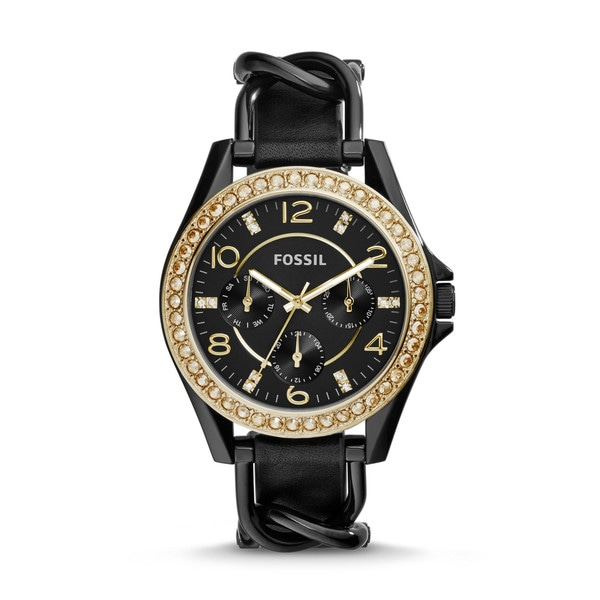 Fossil Women's ES3696 Riley Black Stainless Steel Gemstone Leather Multifunction Watch