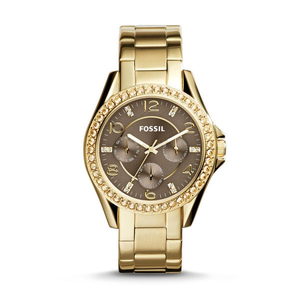 Fossil Women's ES3695 Riley Goldtone Stainless Steel Gemstone Multifunction Watch