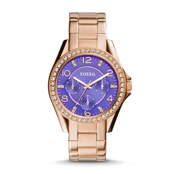 Fossil Women's ES3656 Riley Rose Goldtone Steel Purple Dial Gemstone Multifunction Watch