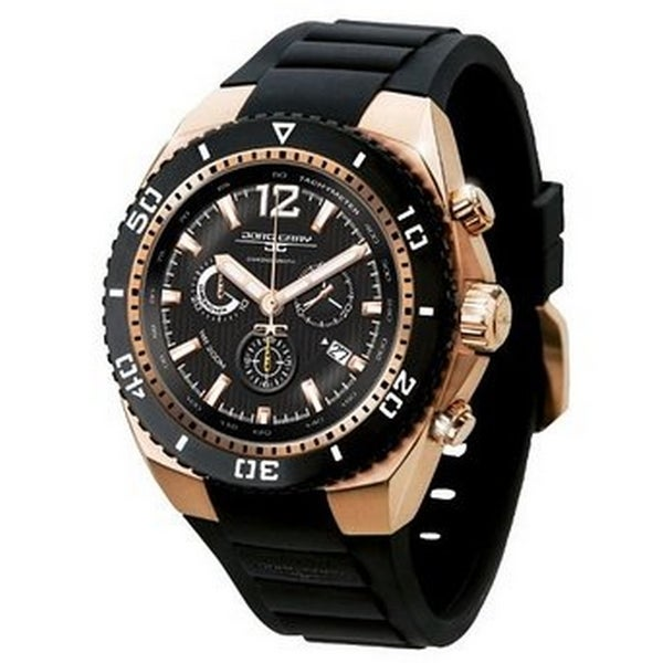 Jorg Gray Men's JG9700-23 Rose Goldtone Stainless Steel Case Black Rubber Watch