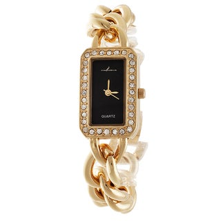Via Nova Women's Gold case and Rectangle Black Dial with Gold Chain Strap Watch