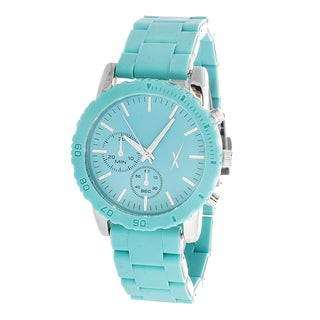 Xtreme Time Women's Silver Case and Turquoise Dial with Turquoise Rubber Strap Watch