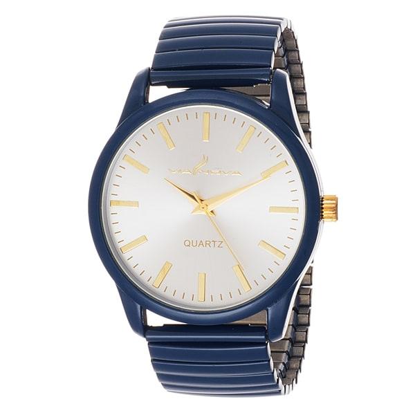 Via Nova Women's Navy Blue Case with Navy Blue Stretch Strap Watch