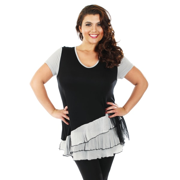 Firmiana Women's Plus Size Short Sleeve Black/ Grey Layered Ruffle and Lace Top
